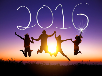 young group jumping and happy new year 2016 concept