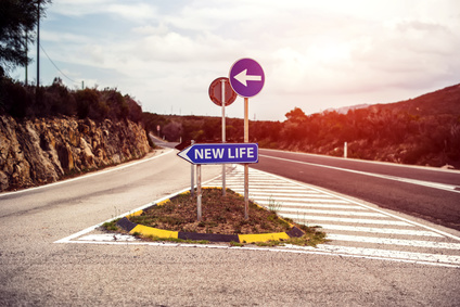road sign concept with new life motivation